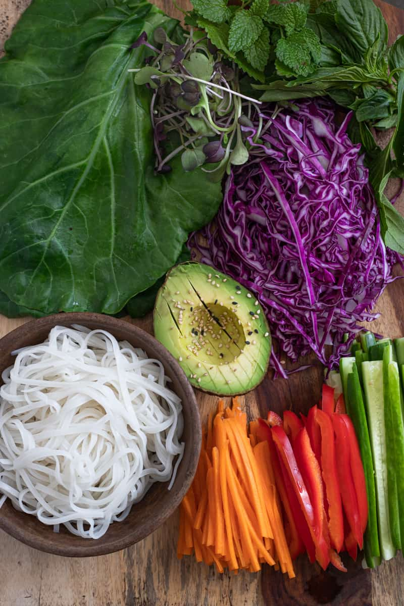 Vegetables and noodles for vegan lettuce wraps.