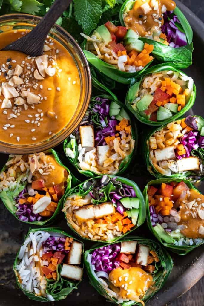 Spicy Thai Peanut Salad Rolls and Dipping Sauce.