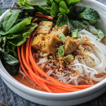 Tofu noodle bowl of soup with carrots and basil.
