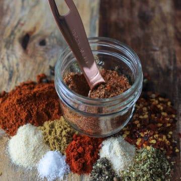 Spicy Taco Seasoning spice blend in a jar.