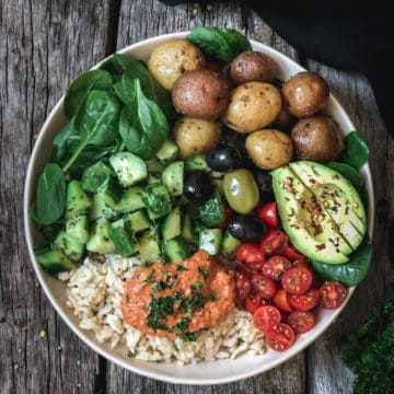 Mediterranean bowl with green potatoes, avocado and olives.