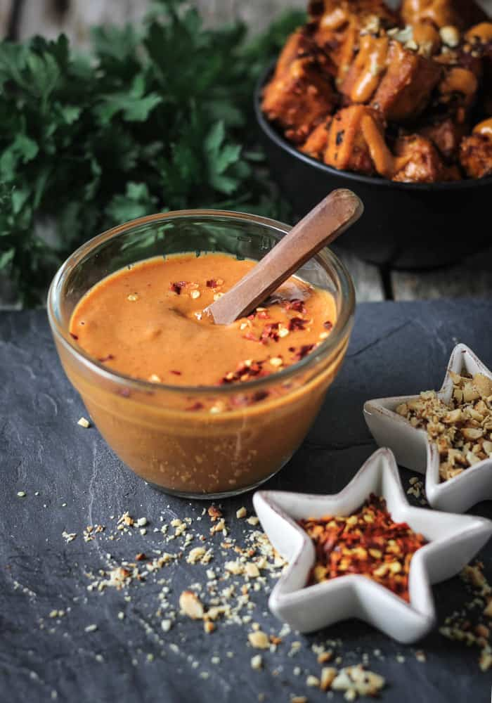 Spicy peanut sauce in a bowl.