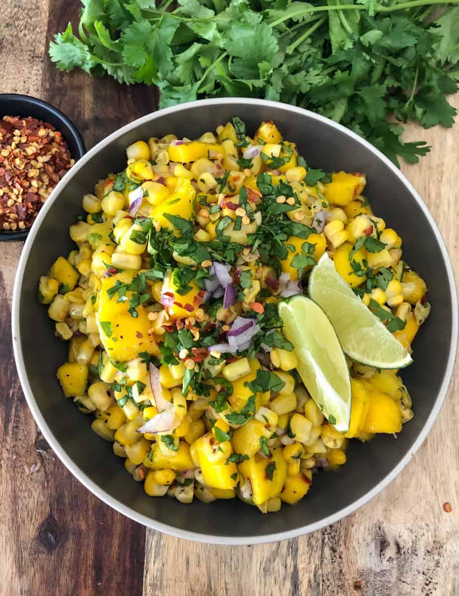 Big bowlful of mango corn salsa.
