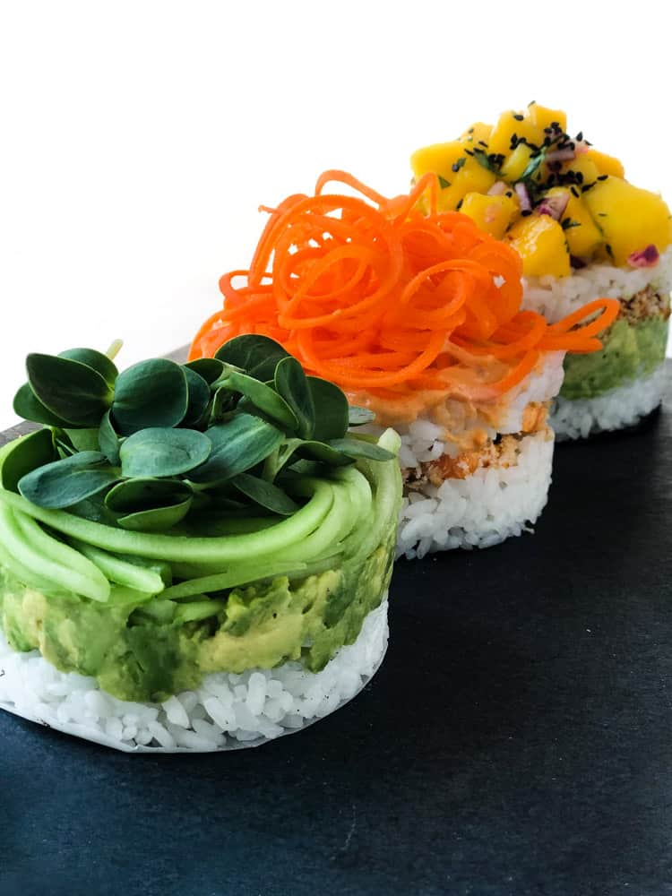 sushi trio on a plate