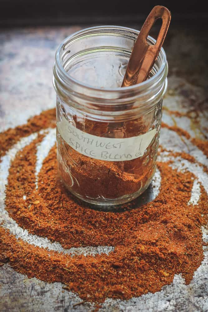 southwest spices in jar sitting on sheet pan