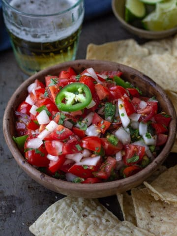 homemade salsa in a serving bowl