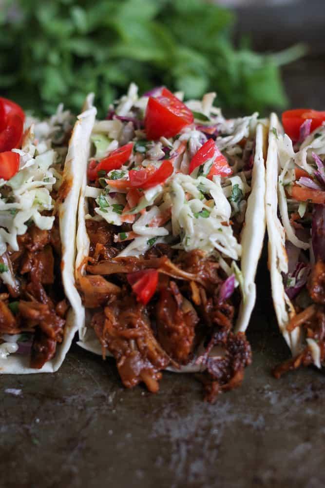 bbq jackfruit and slaw taco