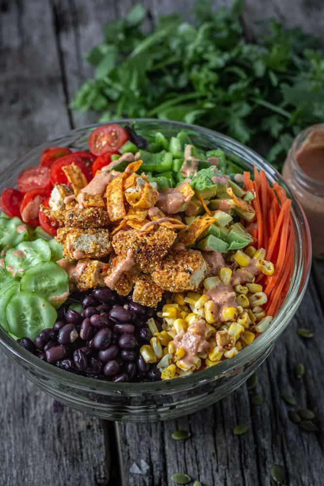 Southwestern chopped salad and spicy tex mex salad dressing.