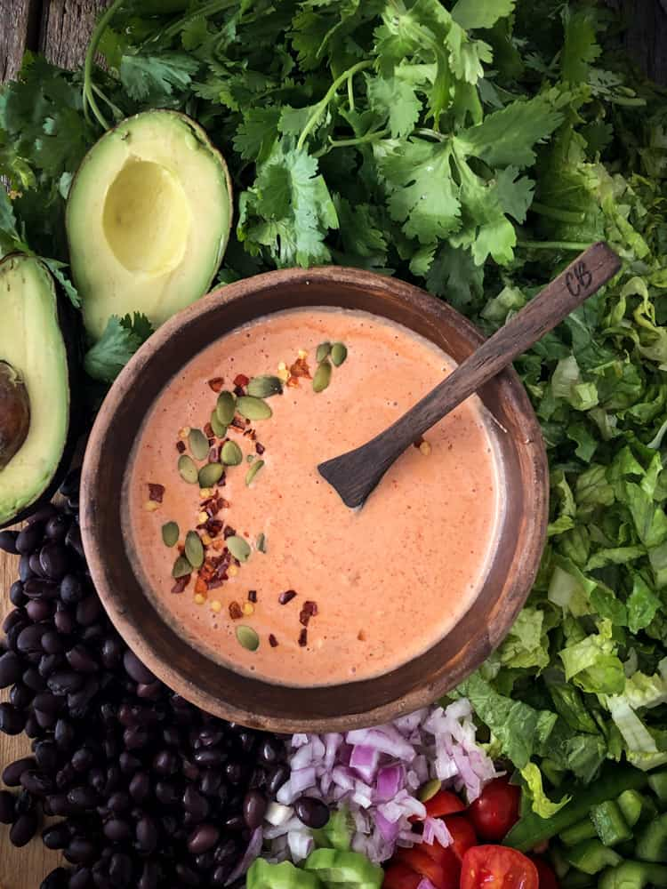 creamy, spicy, dairy free tex-mex salad dressing
