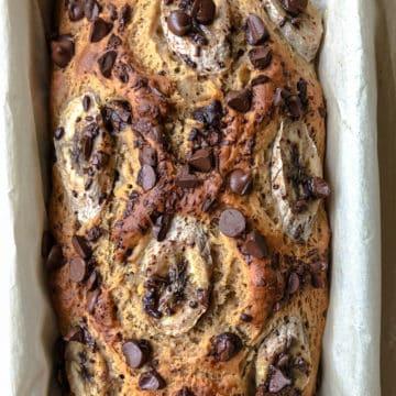 loaf of vegan banana bread