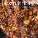 Jackfruit cooking in sauce in a pan.