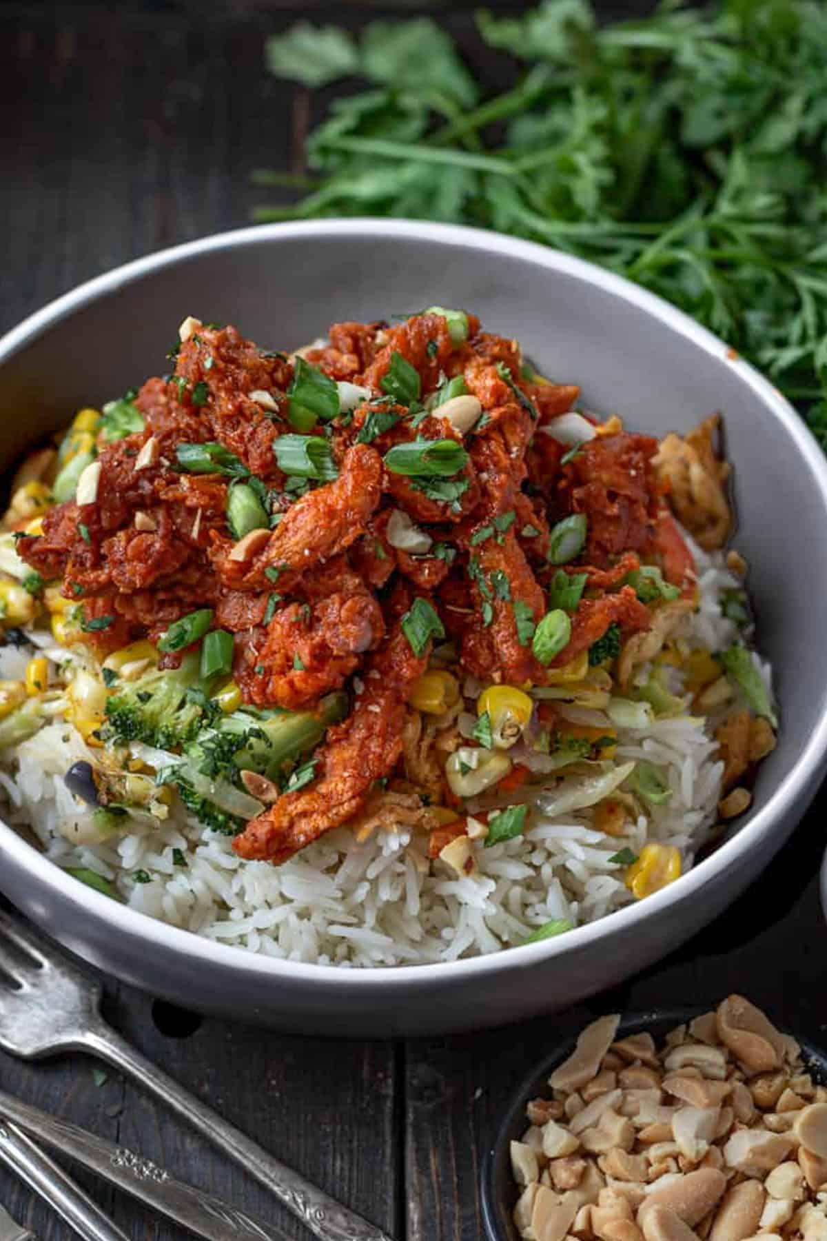 Vegan ginger chicken and stir fry vegetables on rice.