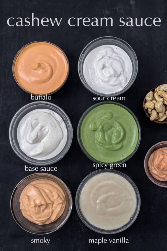 Tray of 8 bowls of different cashew cream sauces.