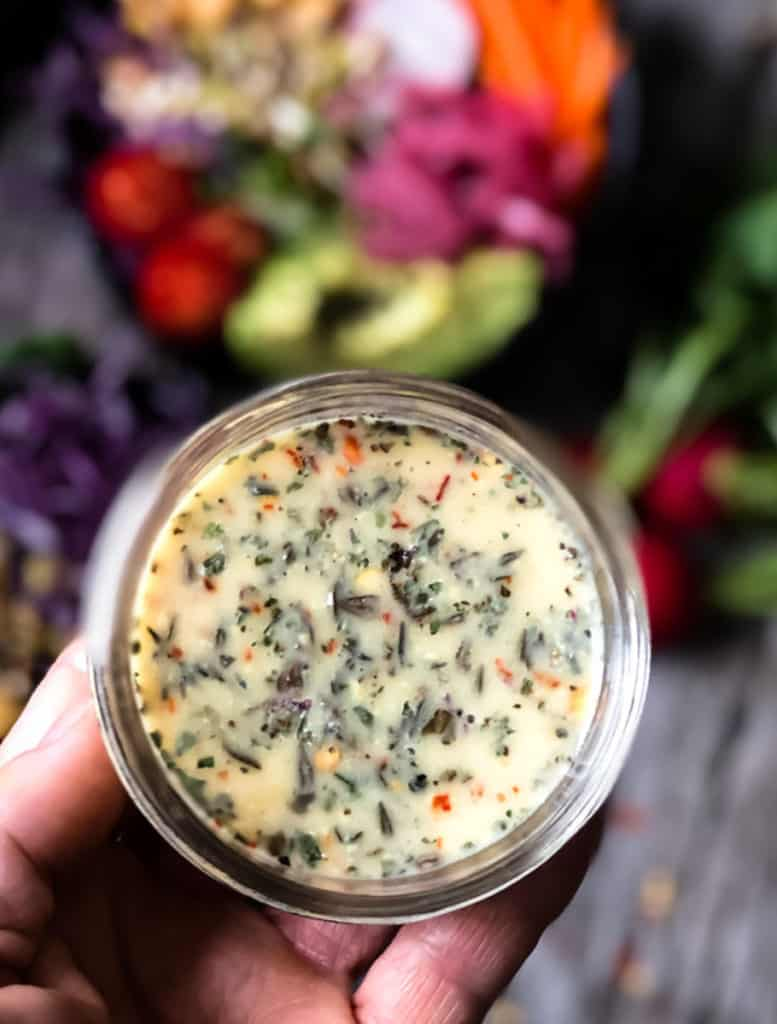 Oil-free salad dressing in a bowl.