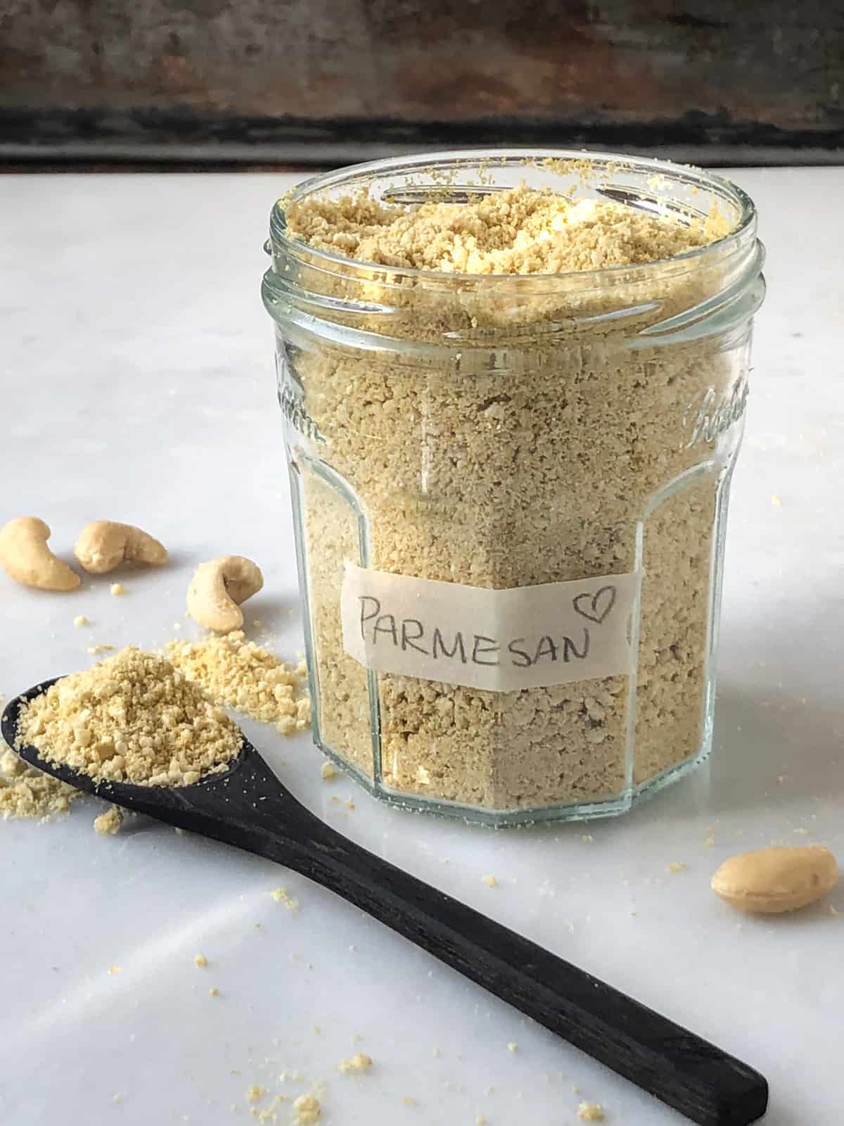 Jarful of vegan parmesan cheese alternative.