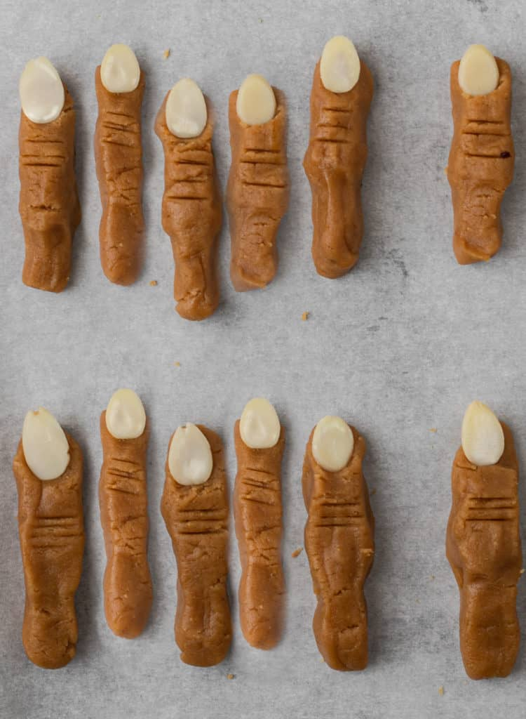 Boney finger shaped peanut butter cookies with almond nail.